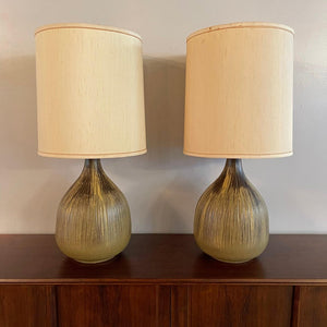 Mid Century Modern Art Pottery Gourd Table Lamps