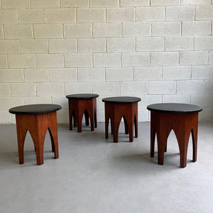 Pair Of Mid Century Hexagonal Walnut Stools After Harvey Probber