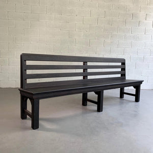 Long Industrial Ebonized Oak Train Station Bench