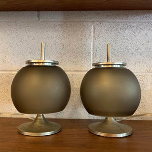 Petite Italian Mid Century Smoked Glass Table Lamps