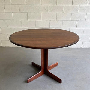 Mid Century Modern Round Walnut Extension Dining Table