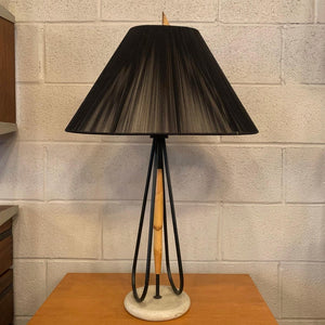 Mid Century Modern Bamboo Table Lamp With String Shade