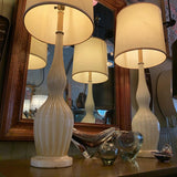 Hollywood Regency Italian Murano Glass And Marble Table Lamps