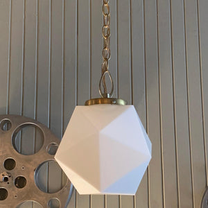 Mid Century Modern Multi-Faceted Milk Glass Pendant Light