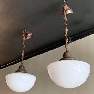 Industrial Milk Glass And Brass Library Pendant Lights