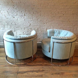Milo Baughman Chrome Barrel Chairs