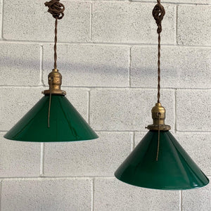 Industrial Green Glass Cone Pendant Lights