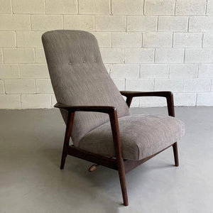Upholstered Reclining Oak Lounge Chair by Yngve Ekström for Pastoe