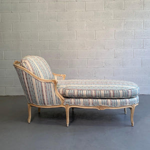 Upholstered Carved Mahogany Chaise Longue