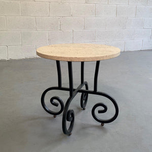 Round Travertine And Wrought Iron Side Table