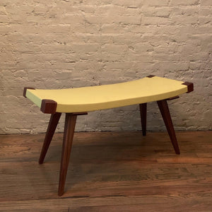 Custom Mid-Century Modern Style Leather Bench