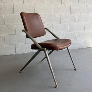 Mid Century Steel And Leather Office Chair By Cramer