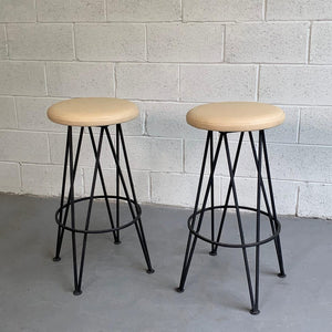 Mid Century Modern Wrought Iron Bar Stools