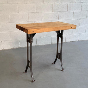 Custom Industrial Block Maple and Brushed Steel Console Table