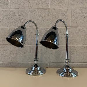 Pair Of Chrome Art Deco Style Goose Neck Table Lamps