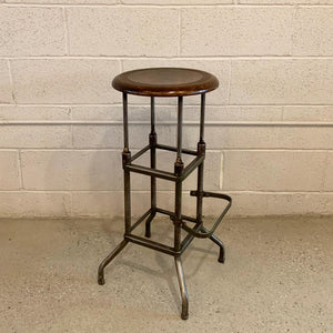 Early 20th Century Industrial Drafting Stool With Footrest