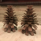 Bronze Pine Cone Candle Holders
