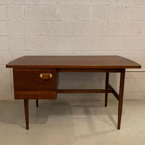Mid Century Modern Walnut and Brass Desk By Jens Risom
