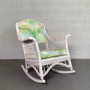 Midcentury Upholstered White Wicker Rocking Chair