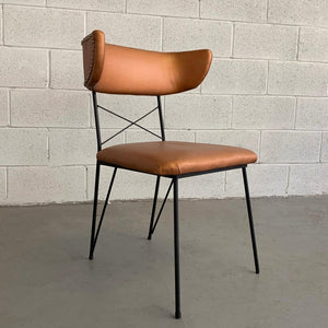 Mid Century Modern Upholstered Wrought Iron Side Chair