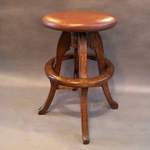 Oak and Leather Stool