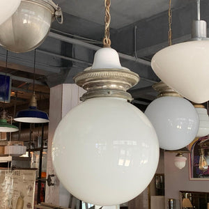 Early 20th Century Milk Glass Globe Library Pendant Light