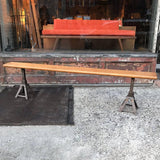 Adjustable Oak and Cast Iron Bench