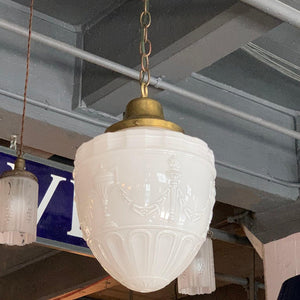 Early 20th Century Milk Glass Library Pendant Light