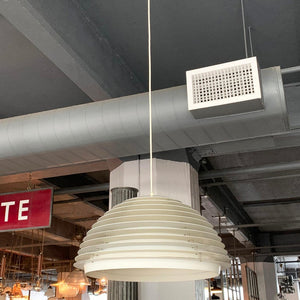 Modernist Achitectural Slat Metal Dome Pendant Light