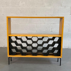 Custom Mid Century Modern Dry Bar With Wine Rack
