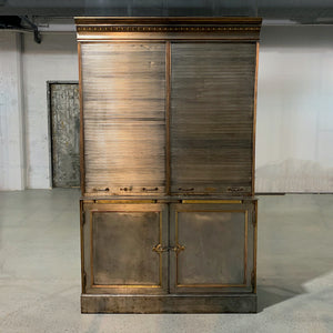 Antique Steel And Brass Roll Top Valuables Safe Display Cabinet