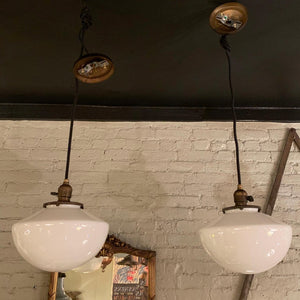 Art Deco Milk Glass Library Pendant Lights