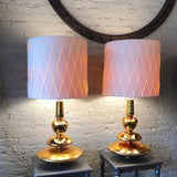 Hollywood Regency Gold Mercury Glass Table Lamps