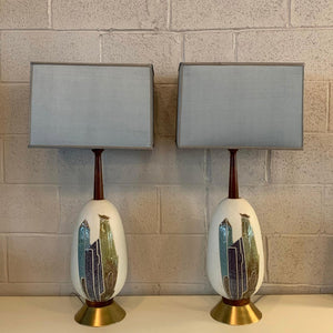 Pair Of Mid Century Modern Art Pottery Table Lamps
