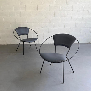 Mid Century Modern Wrought Iron Upholstered Hoop Chairs