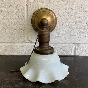 Early 20th Century Industrial Milk Glass And Brass Wall Sconce Light