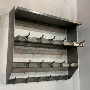 Industrial Brushed Steel Gymnasium Wall Mount Shelf Unit Coat Rack