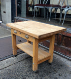 Rolling Butcher Block Table