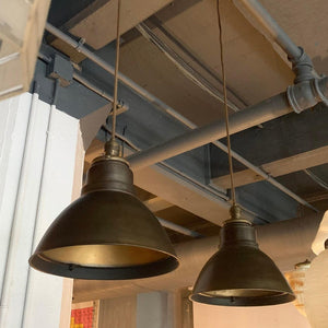 Pair Of Industrial Factory Gunmetal Dome Pendant Lights