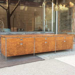 Rare Gordon Bunshaft SOM Architect Floating Burl Olive Wood Credenza