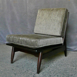 Danish Modern Ebonized Maple Slipper Lounge Chair