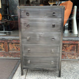 Simmons Brushed Steel Highboy Dresser