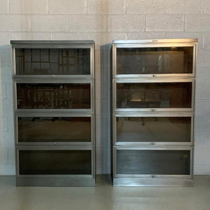 Industrial Mid Century Brushed Steel Barrister Cases By Steelcase