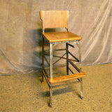Custom Oak Angle Iron Drafting Stool