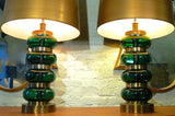 Glass And Brass Regency Lamps By Paul Hanson