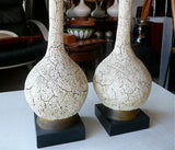 Mid Century Crackled Lamps