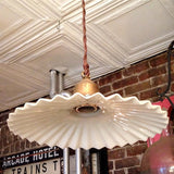 Ruffled Milk Glass Pendant
