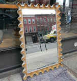 Italian Hollywood Regency Ruffle Frame Gilt Mirror