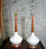 Teak And Ceramic Lamps