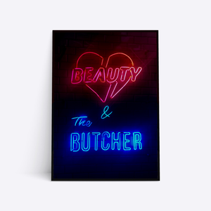 Beauty & The Butcher neonskilt plakat i ramme